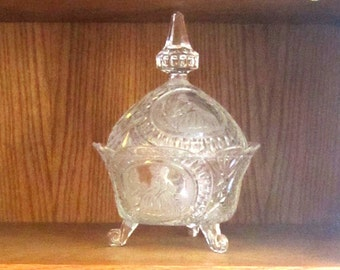 Vintage Three Footed Pressed Glass Lidded Candy Dish, c.1950s