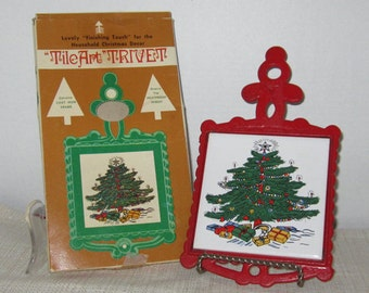 Tile Art Trivet Christmas Decor Genuine Cast Iron Frame Heat Proof  c1976