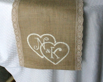 Burlap with lace monogrammed tables runners, country rustic, shabby chic, woodland cottage, & French country weddings