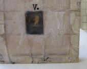 Letter V - an original encaustic collage
