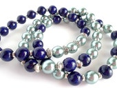 Mint and Navy Beaded Stretch Stackable Bracelet Set Color Trend