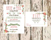 Printable Wedding Invitation - Floral Design - Wedding Invite and Matching RSVP