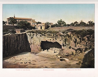 antique print of Jerusalem, the Tomb of the Kings, a color lithograph from 1908