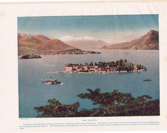 vintage travel illustration of Lake Maggiore, Isola Bella, Italy, vintage Italy,  a page from a 1930's encyclopedia