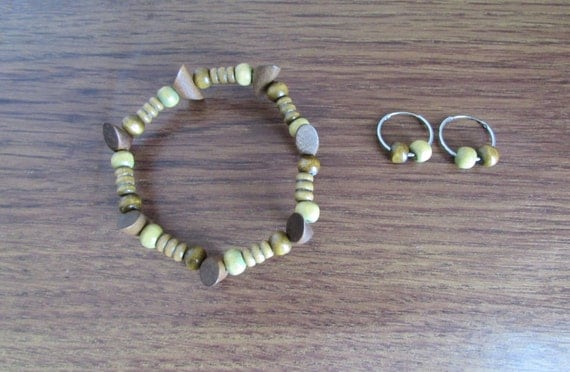 Hoop Earrings, Stretch Wood Bracelet, Stretch Bracelet, Wood Bracelet, Acrylic Bracelet, Bead Bracelet, Silver Bracelet, Free US Shipping
