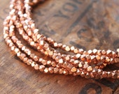 "Montevideo Bright Copper Small Cornerless Cube Beads (24"" stand) - Copper Plated 3.3mm Spacers"
