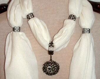 Jewelry Scarf Necklace Ecru with Round Gold Rhinestone Pendant