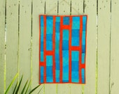 Abstract Art Quilt 'Up and Away' - Vibrant Wall Hanging - Turquoise and Orange - OOAK