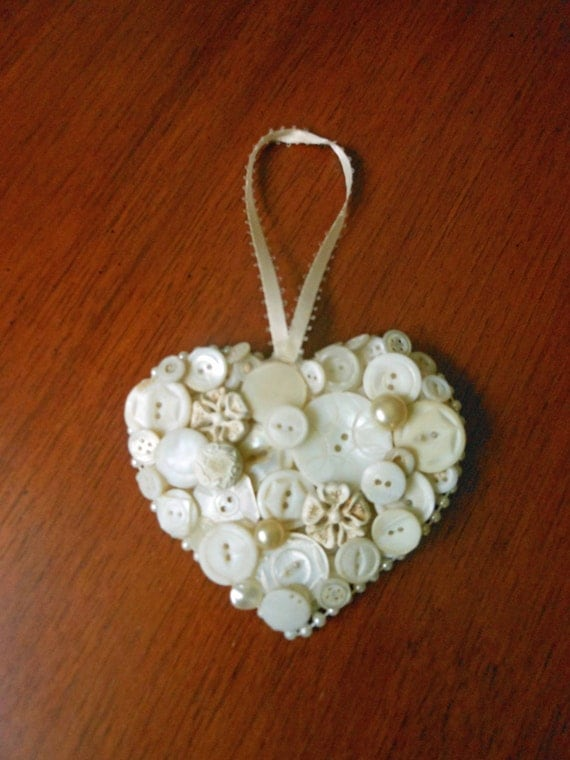Items similar to vintage white buttons wooden heart ornament wall decor faux pearls wedding - Wall decoration with pearls ...