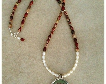 "Poppy Jasper Gemstone Necklace with Pearls, Sterling Accents and a Sterling Silver Hand Stamped Pendant ""God Bless You"""