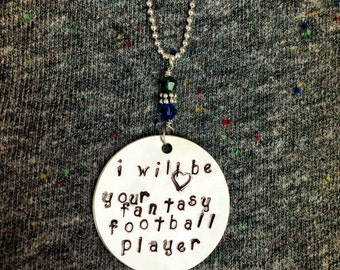Sterling Silver Hand Stamped Fantasy Football Player Themed Necklace with Team Colored Swarovski Crystals