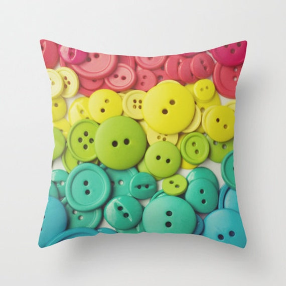 Items similar to Pillow Case- Throw Pillow- Home Decor- Buttons, Rainbow, Colorful children kids ...