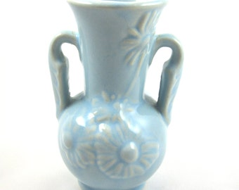 Blue USA Pottery Vase, Embossed Floral Design