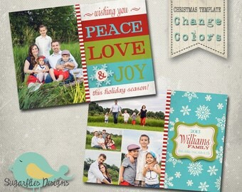 Christmas Card Template PHOTOSHOP TEMPLATE - Family Christmas Card 84