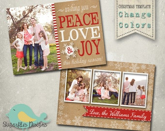 Christmas Card PHOTOSHOP TEMPLATE - Family Christmas Card 85