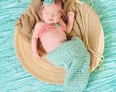 crochet Mermaid outfit, mermaid photo prop, mermaid costume, newborn, baby, teal, pink, newborn photo prop