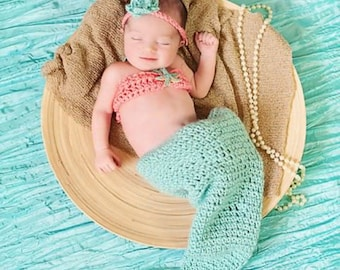 crochet Mermaid outfit, mermaid photo prop, mermaid costume, newborn, baby, teal, pink, newborn photo prop
