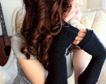 Womans Black Cashmere Fingerless Gloves - Fingerless Mittens - Wrist warmers