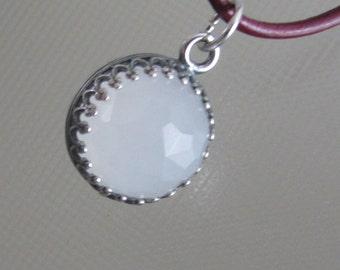 White Jade Crown bezel Pendant -  Natural Stone Silver Pendant
