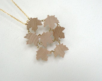 Natural wooden leaves as a pendant necklace: fall is slowly coming  by bois et rois natural jewelry in wood