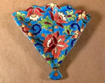 Vintage Mid Century French Peony Art Ceramic Longwy Pottery