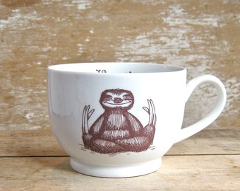 Mug, Namaste Baby Sloths, Tea cup Sloth Meditation Teacup, 20 oz Coffee Mug, Recycled, Large Porcelain Soup Mug,  Ready to Ship