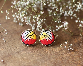 Butterfly wings stud earrings - Red and yellow ear posts. Butterfly jewelry, nature jewelry, post earrings, earring studs, rustic jewelry