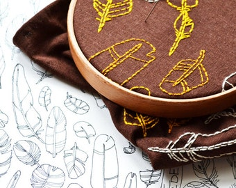 feathers embroidery pattern PDF