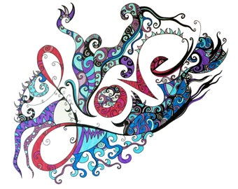 """Original pen and ink drawing, love art, word art, abstract  pink, purple, and blue design , """"Love"""""""