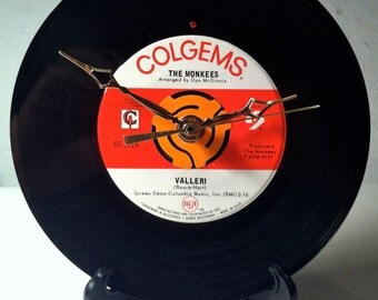 "Recycled MONKEES 7"" Record / Valleri / Record Clock"