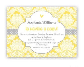 Baby shower quatrefoil and damask  yellow and grey  printable invitation