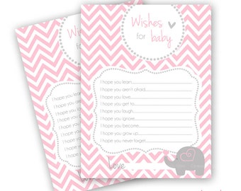 Baby Shower Wishes for Baby Printable pink chevron and grey