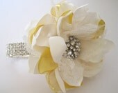 Wrist Corsage Yellow and Ivory Satin Rhinestone Bracelet Bride Bridesmaid Mother of the Bride Prom Shower with Rhinestone Accent Custom