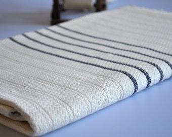 Turkish bath towel Handwoven peshtemal towel cotton , dark grey striped