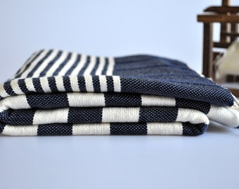 Beach towel peshtemal Towel for bath and beach hand loomed Denim Blue ivory striped, genuine handloomed