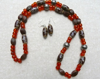 31 Inch Ethnic Bohemian Indonesian Brown and Orange Glass Bead Necklace with Earrings