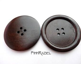 2 giant wooden buttons dark brown ø50mm