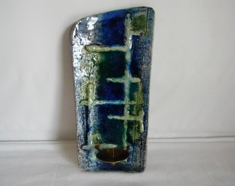 Vintage Midcentury Modern West German Pottery Wallhanging Candle Sconce Blue Green Home Decor