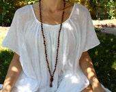SALE - Flat Wooden Knotted Mala Beads - Yoga Prayer Beads - Mantra Meditation