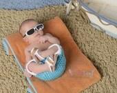 Newborn Summer Swim Trunk Board Shorts and Flip Flop Sandles Shoes Crochet Photo Prop Set