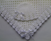Crochet Baby Blanket and Baby Hat Set Gift Christening Baptism baby shower photo prop