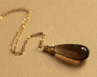 AAA luxe smoky quartz wire wrapped briolette pendant necklace in sterling silver or gold filled