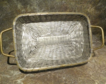 Basket Tray Woven Aluminum Serving Basket with Handles - Large and Sturdy