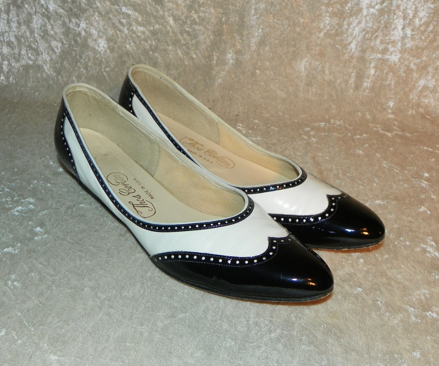 shoes black white wingtip spectator shoes flats leather