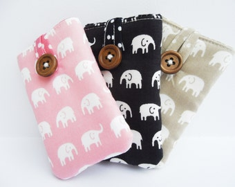 Padded Case / Pocket / Sleeve for iPod Nano 2015 7th / 8th Generation - Made in cute & kitsch elephant print fabric - 3 colours to choose
