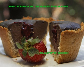 Vegan Delicious Creamy Blackberry chocolate  Baby Cheesecakes, love, animal free cruelty,no eggs,no dairy. Perfect for Valentine's Day.