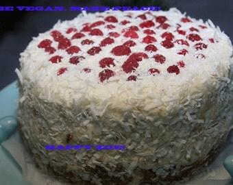 Vegan Gluten Free Snowflake Vanilla Coconut Cake, love, animal free cruelty,no eggs,no dairy.