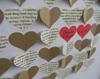 Alternative Wedding Guest Book, 3d Hearts Personalized Guestbook, Dictionary and Kraft Paper Hearts, Choose your wedding colors.