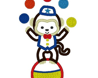 INSTANT DOWNLOAD Circus Monkey Juggling  Machine Embroidery Applique Design
