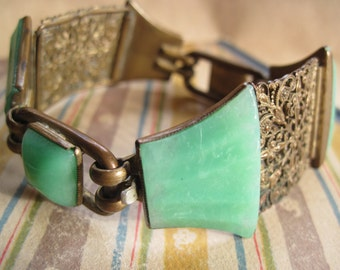 French Art Deco Filigree and Green Glass Link Bracelet